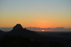 Glasshouse Mountains (Lisa M / /) Tags: glasshouse mountains queensland australia dawn sunrise landscape mountain sky forest grass tree rock