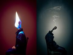 Burning Days, Restless Nights (felipemorin) Tags: surreal surrealism surrealist photomanipulation photoshop conceptual concept interpretation dreamscape selfportrait portrait match contrast dreamy