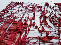 work in progress (Ines Seidel) Tags: newspaper red texture pattern news paper paperart fiberart ink machinestitching sewing nähen zeitung tusche rot