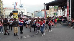 Video - Zagreb 7th July 2018. Croatia fans support their tem against russia in World Cup quarter finals (sean and nina) Tags: video film movie zagreb croatia croatian hrvatska balkan balkans eu europe european world cup fifa quarter finals against russia street celebrations fans flags shirts crowds kit red white colors colours square public candid people persons male female men women boys girls concert bars clubs pubs cafes singing chanting celebrating