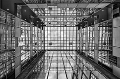 Glassy Courtyard (Leipzig_trifft_Wien) Tags: leipzig innenhof architecture glass facade courtyard modern contemporary reflection mirror black white blackandwhite bnw bw urban city building lookup lookingup roof