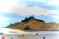 Sometimes we are taken into troubled waters not to drown, but to be cleansed.  ~Kathryn Lane (Irene2727) Tags: cape capekiwanda oregon rock rockformation water people surf beach nature landscape scape panorama pano waterscape