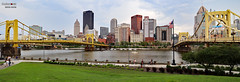 Downtown Pittsburgh between the Roberto Clemente and Andy Warhol bridges. (danniepolley) Tags: downtown pittsburgh between roberto clemente andy warhol bridges