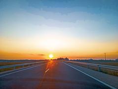 High way to heaven (Áronkuna) Tags: highway sun composition color colors sunrise travel car phone mobilephone amateurphotography amateur smartphone meizu