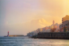 """Fire Shower..."" (Howard Brown Photographic) Tags: bastia le vieux port de french corsica france water ocean sea mediterranean clouds sunshine sunset sunlight light lighhouse citadel hdr"