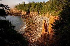Monument Beach - Acadia - Bar Harbor - Maine (Bernie Duhamel) Tags: boulderbeach acadianationalpark desertisland barharbor maine coastline atlanticocean greatphotographers teamsony bernie duhamel sonya7riii sony2470mm sunrise ocean waves foggy fog rock
