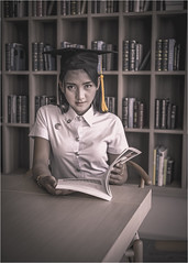 Oye - Graduated (christophe plc) Tags: girl model canon 6dmarkii graduated student etudiante pretty photo 6dmark2 eos people pose bibliotheque inside natural light uniform