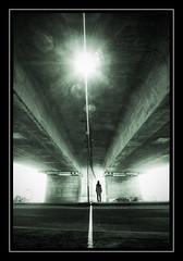 Shelter (Fotogravirus) Tags: conceptualart bridge eos1ds oosterbeek veluwe highway water summer sun art postapocalyptic apocalypse shadows light figure man raysoflight