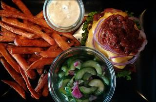 Burger (w/o bun), fries, dip, salad