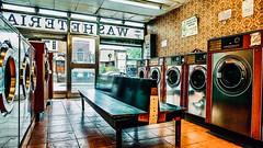 IMG_8775 (Kathi Huidobro) Tags: nostalgic fluorescentlighting signage naturallight wallpaper vintageinterior washingmachines washday retro vintage interiordesign laundry laundromat launderette highstreet londonshops london