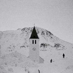 tout ce que le ciel permet (asketoner) Tags: church iceland winter silhouettes kids playing daylight snow city north cold memory siglufjordur siglufjardakirkja harbour mountain sky