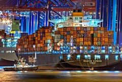 White Water Boat - Credit to http://homedust.com/ (Homedust) Tags: boats cargo container containers germany hamburg harbor harbour illuminated industry merchandise nautical ocean pier sea seaport ship shipment shipping ships trade watercrafts