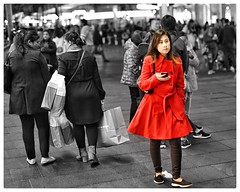 Lady in red (gro57074@bigpond.net.au) Tags: red candidstreetportrait lonesome alone 50mmf14 artseries sigma d850 nikon city sydneycbd pittstreetmall womaninred lady redcoat ladyinred spotcolour