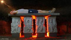 The sacrificial lamb (Red Cathedral [FB theRealRedCathedral ]) Tags: redcathedral aztektv sony alpha slt mkii sonyalpha a77ii a77 dslr sonyslta77ii translucentmirrortechnology wanderlust digitalnomad contemporaryart urbex protest activism alittlebitofcommonsenseisagoodthing eventcoverage travellingphotographer travel cosplay larp livinghistory lightgraffiti lightpainting lighttube church chapel berlare donk sacrifice victim lava god offerblok altar red rood orange oranje lightrays nightshot longexposure topless barechested aztecritual bloodsacrifice ritual offering