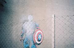 Captain America? (knautia) Tags: avonmouth bristol england uk august 2018 ishootfilm olympus xa2 olympusxa2 nxa2roll54 heatwave m5 motorway motorwaybridge underthem5 bridge portway graffiti streetart trump captainamerica 160iso kodak portra