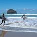 Surfers at Trebarwith Strand