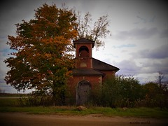 HFF-at the North Grove School (SCOTTS WORLD) Tags: adventure abandoned america architecture sky shadow school clouds country crusty schoolhouse olympusepm1 old digital decay dilapidated detail oneroomschoolhouse michigan midwest trees fun fall fence hff rural ruin road corner bluesky bushes brick building brown outdoors outside texture thumb