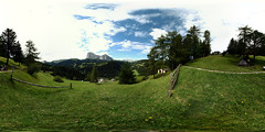 "View towards ""Sassolungo"" and ""Sassopiatto"" from above santa Cristina, Val Gardena (Cristian Marchi) Tags: 360cities 360x180 mountain montagna alpi alps dolomiti dolomites hike hiking sentiero landscape vista hugin panorama spherical"