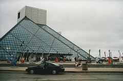 Cleveland Ohio  - Rock n Roll Hall of Fame - Vintage Photo (Onasill ~ Bill Badzo) Tags: grand am gt 1999 guitars downtown cuyahogacounty attractiosite mustsee tourist travel onasill pyramid glass architecture style modern display venues shows museum rockandroll hallfame lakeerie cleveland artists atlantic records 1986 old vintage photo pontiac 86 101