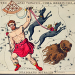 Sidney Hall's (?-1831) astronomical chart illustration of Bootes Canes Venatici, Coma Berenices, and Quadrans Muralis. Bootes the Ploughman, and two dogs, Asterion and Chara, and the hair of Berenice forming the constellations. Original from Library thumbnail