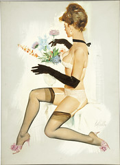 Pinup by Fritz Willis (gameraboy) Tags: fritzwillis pinup pinupart art illustration vintage painting lingerie stockings thighhighs nylons heels