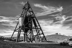 Goldoint, Nevada (paccode) Tags: solemn tanker mojave landscape desert bushes brush blackwhite nevada quiet clouds abandoned monochrome silo dirtroad serious sky creepy scary forgotten hills field goldfield unitedstates us