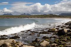 Achnahaird Beach (StickyToffeeQueen) Tags: achnahairdbeach sutherland mountains clouds waves rocks