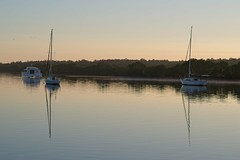 Serenity at sunrise (noompty) Tags: nudgee sunrise boats water reflection queensland winter pentax k1 zeiss zk carlzeiss makroplanart2100 on1pics photoraw2018