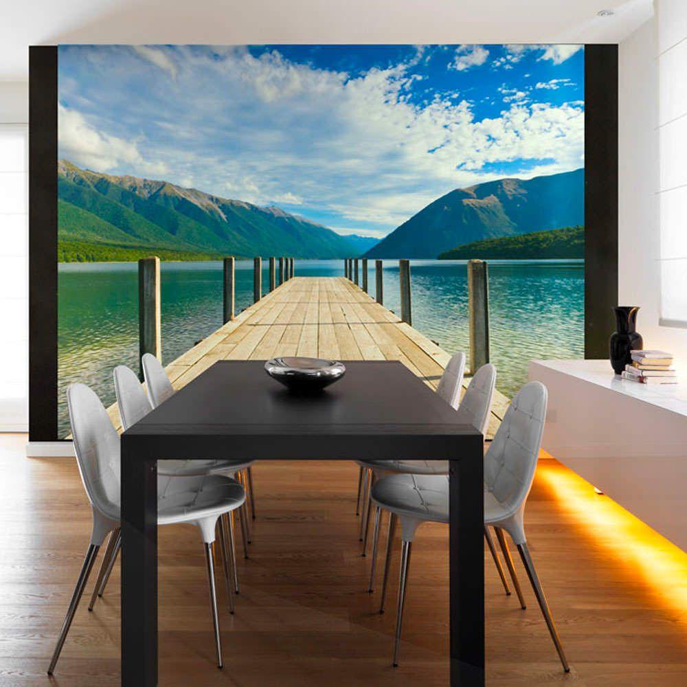 Papier peint entre lac et montagnes emmanuel delahaye tags lacs mobilier deco artgeist recollection