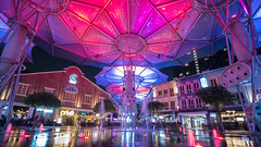 Under the multi-colored canopy (jacysf) Tags: eveningscene coloredcanopy clarkequay throughherlens coloredwaterfountain urban dining clubbing