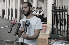 """""""""""My empty stomach is stronger than the weak and cowardly regime"""" (alisdare1) Tags: hassanmushaima alimushaima hungerstrike hungerstriker bahrain bahrainembassy bahrainiembassy london humanrights democracy protest"""