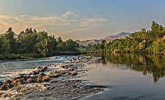 Summer Flow (http://fineartamerica.com/profiles/robert-bales.ht) Tags: gemcounty idaho mountain emmett sweet squawbutte scenic treasurevalley emmettvalley trees thebutte haybales beautiful awesome magnificent peaceful wow town butte gem river payetteriver southwesternidaho reflections water scenicbiway blue whitewater picturesque mountains payette tributary robertbales snakeriver summer clouds panoramic digitalart