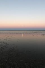 Town beach (Paul Threlfall) Tags: wa westernaustralia northwestcape exmouth exmouthgulf townbeach moon luna reflections sky water ocean bluehour
