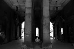(cherco) Tags: alone arquitectura architecture arch lonely solitario solitary silhouette silueta street shadow sombra solo shadows sofia bulgaria light moment momento simetria composition canon composicion city ciudad calle woman mujer vanishingpoint geometry geometric techo urban urbano blackandwhite blancoynegro canoneos5diii 5d walk lampara lamp
