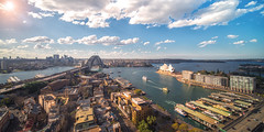 Panorama of Sydney city (anekphoto) Tags: sydney australia harbour bridge city cbd aerial sky nsw skyline north cityscape water architecture tower wide shore landmark landscape waterfront highrise opera house houses sunlight quay view landmarks blue elevated panorama travel modern building park newsouthwales bay buildings ferry kirribilli suburb summer morning infrastructure tourism destination wealth harbor residential day zoo