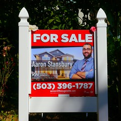 Aaron Stansbury house for sale sign in Eugene, Oregon