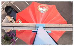 Beer Parasol (myphotomailbox) Tags: rotterdam netherlands strevelsweg outdoor amstel parasol reflection blue red gray