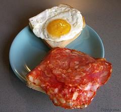 Breakfast with cholesterol (peregrinacr) Tags: egg bread salamepiccante cremosina