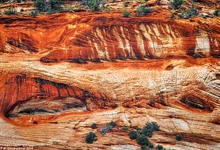 Cross bedding in the Entrada sandstone, a Triassic/Jurassic rock formation, Kanab Utah