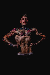 _BSC2445 (benni_schuetzenhofer) Tags: inked shredded shred tattoo tattooedup blackbackground abs sixpack huge muscle muscles big getbig fitness model athletic fit fitguy man male malemodel