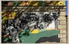 Dans le temps de l'ombre (afantelin) Tags: paris14è iledefrance streetart visage regard ombreportée feuillage mur yeux