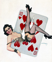 Ten of Hearts by Earle K. Bergey (gameraboy) Tags: earlekbergey painting art illustration vintage pinup pinupart woman sexy tenofhearts stockings thighhighs heels