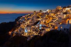 Santorini Sunset (www.Royz.nl) Tags: santorini greece oia lights goldenhour citylights architecture landscape