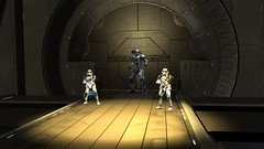 Purging the Bridge (BarricadeCaptures) Tags: starwars theforceunleashed starwarstheforceunleashed swtfu theempirical imperialpurgetrooper purgetrooper imperialevotrooper evotrooper door gamescreenshots gamephotography videogame screencapture screenshot screencap