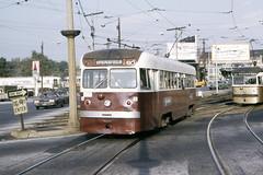 US PA Philadelphia SEPTA-PSTC Red Arrow 5-8 Brilliner 10-1973 69th St (David Pirmann) Tags: pa pennsylvania philadelphia septa redarrow pstc philadelphiasuburbantransco interurban train trolley tram transit railroad brilliner