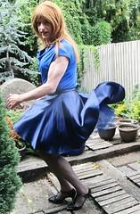 Fluttering in the Breeze ;-) (Amber :-)) Tags: blue satin skater skirt tgirl transvestite crossdressing