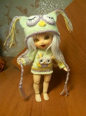 Knitted outfit for Pukifee (AnnaKeyn) Tags: bjd clothes knitting owl puki pukifee doll handmade clothesforbjd