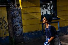 #08 (jaumescar) Tags: london england unitedkingdom camden sr yellow blue woman street urban color black style graffiti afro hair candid canpubphoto