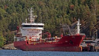 The oil tanker Toli at Berg Oil POrt in Nacka, Stockholm