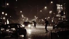 Sometimes Life Just Calls For An Umbrella .... Downtown Toronto Inundated With Heavy Rain (Greg's Southern Ontario (catching Up Slowly)) Tags: torontoist weather weatherphotography yongeandcarltonstreets nightphotography blackandwhitephotography torrentialrainfall